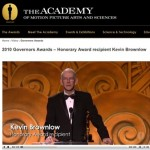 The Academy's online clip of Kevin Brownlow accepting his Governors Award at a ceremony in November.