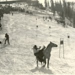 The Horse Slalom Race at the 1948 Steamboat Carnival, from a film that the Colorado Ski & Snowboard Museum will restore with a grant from the National Film Preservation Foundation.