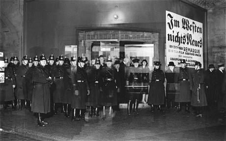 "Berlin police ready for Nazi protest showing of ""All Quiet on the Western Front"" in 1930"