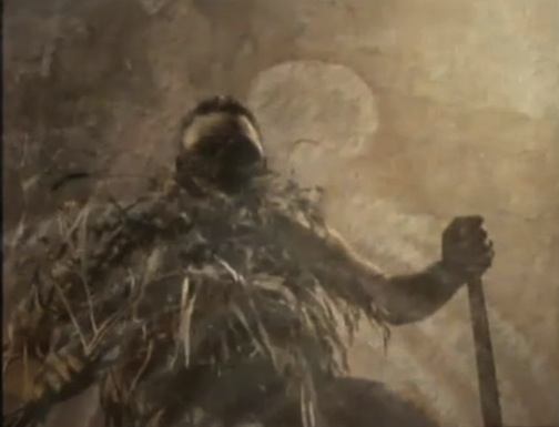 """A scene from """"Story About Feeling."""" [To view film of the Lorrkkon ceremony for Bill Neidjie, click on the image. Australian Aboriginal and Torres Strait Island people are CAUTIONED that the film contains images and sounds of the deceased."""""""