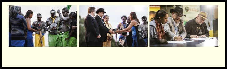 Family members present Kevin Lucas's film footage to AIATSIS Council Chairperson, Professor Mick Dodson