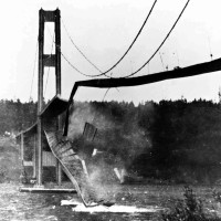 The Tacoma Narrows Bridge crumbles into Puget Sound on Nov. 7, 1940. The fifth-longest suspension bridge in the nation, the original structure know as 'Galloping Gertie' collapsed during a windstorm. It was rebuilt and completed in 1950. A reporter for the Tacoma News Tribune, James Bashford, shot the photo but credit was mistakenly given to a cameraman who shot a 16mm movie film, now a staple in engineering classes, of the unforgettable tumble. (AP Photo/The News Tribune, James Bashford) MANDATORY CREDIT  WATAC1 0307045280  0311429310