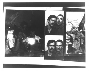 Taylor Mead, left, seated, editing a film with Ron Rice, also seated, with Jerry Joffen in the background; a photo booth strip of Rice and filmmaker Jack Smith; Ron Rice posing next to a tree