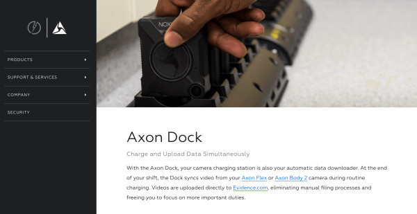 axon dock with black hand copy
