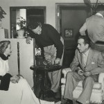 Nicholas Ray, center, with Gloria Grahame and Humphrey Bogart on the set of In a Lonely Place (1950). Image courtesy of the Harry Ransom Center.